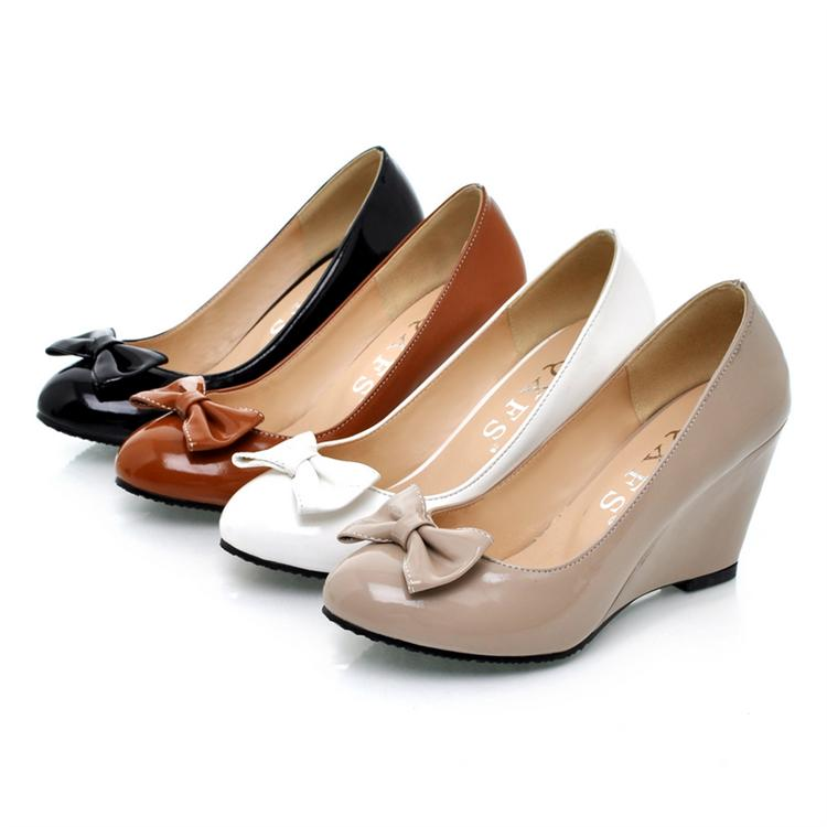 New arrival 2014 spring and autumn wedges high-heeled shoes shallow mouth bow round toe shoes