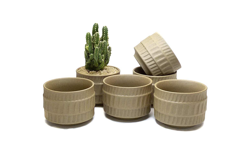 Goldblue Ceramic Ancient Style Serial Set succulent Plant Pot Cactus Plant Pot Flower Pot Container Planter Package 1 Pack of 6 (NO 3)