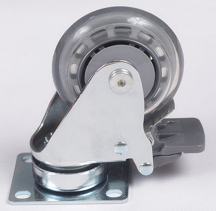 3''/4'' gray color lucency PU material universal caster with brake