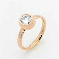 Yiwu Aceon wholesale custom surgical steel rose gold top diamond Semi Mount Ring