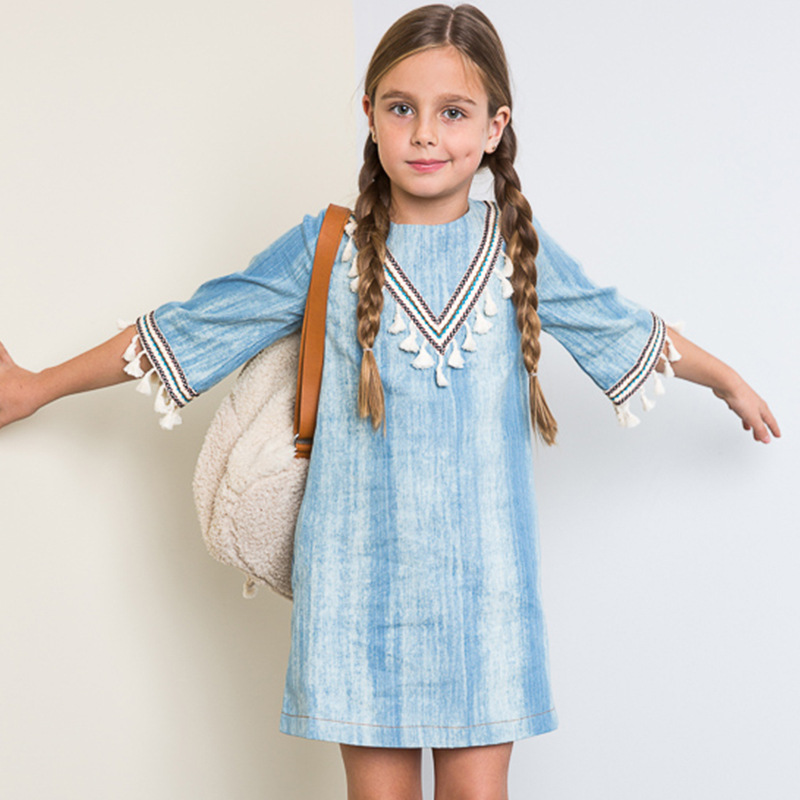 S32404W New products 2017 baby dress girls' dress european style tassels casual jeans dress