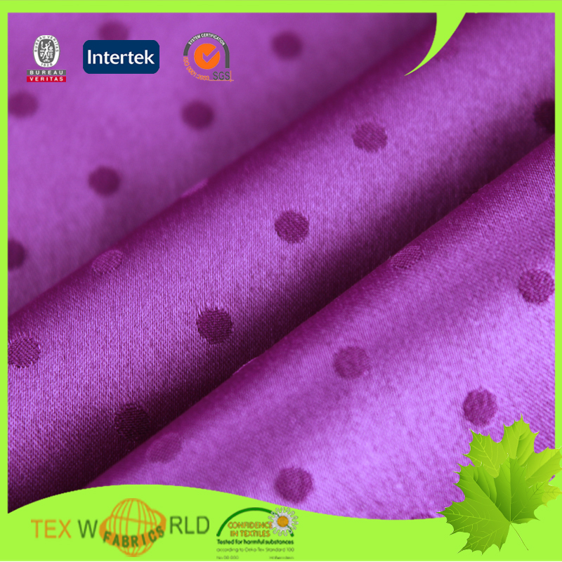 Dot discount jacquard knit polyester thick satin fabric