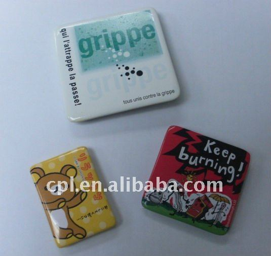 Travel sovernir DIY Square shape/ Rectangle tin button badges