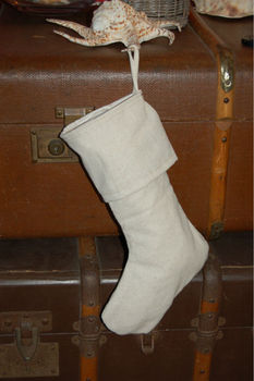 rustic christmas stocking embroidery blank unbleached cotton fully lined made in usa - Rustic Christmas Stocking