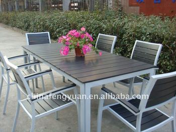 Plastic Wood Garden Furniture, Polystyrene Material, Waterproof Dining Set Part 48