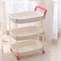 Hand push style high quality 3 tiers plastic kitchen rack storage with wheels
