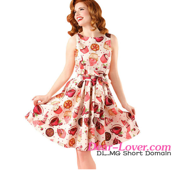 euramerican hot sale Swing cute printed 50s vintage dress
