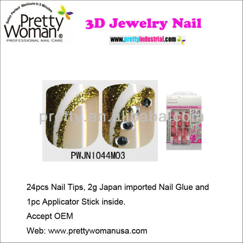 3D Jewelry French Nails 24pcs Artificial Finger Nails with Gold Glitter Nail Powder Decorate