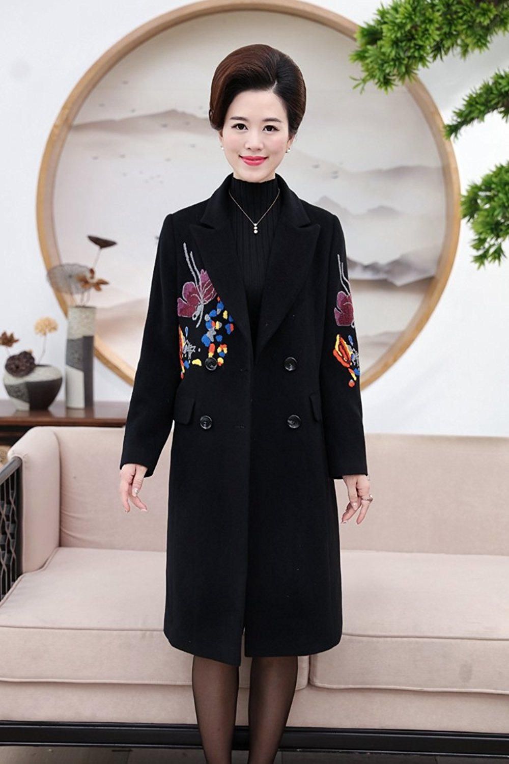 Generic Middle-aged women fall and winter wool woolen jacket middle-aged mother dress Korean yards long section Slim cashmere coat for women girl