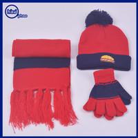 Yhao fashion winter children's pom pom hat scarf and gloves set kids warm wear set