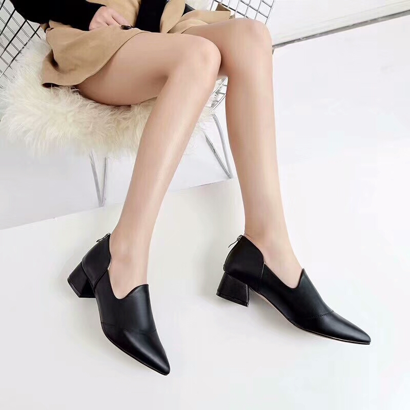 slip heel pointed casual shoes zipper shoes leather middle sexy genuine on heel New node toe thick Fv0f61wnx