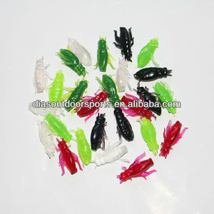 Artificial Black Insects Worm Soft Baits Fishing Lures