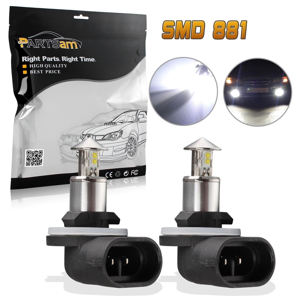 Pack of 2 Partsam 6000K White High Power 881 LED Fog Driving Light Bulbs 1800LM 6000K Xenon White Fog Lights Lamps Replacement 862 886 894 896 898