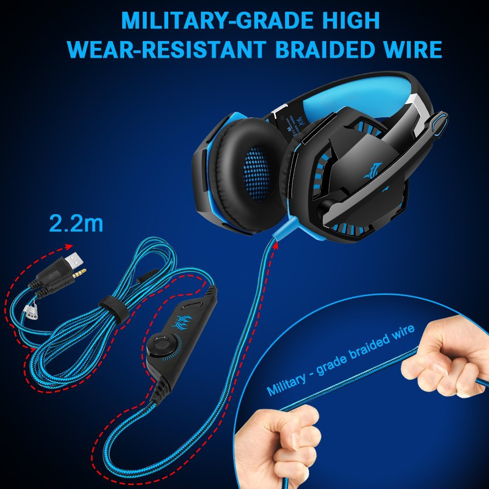GlobalCrown G2000 Gaming Headset, Surround Stereo Gaming Kopfhörer mit Noise Cancelling Mikrofon
