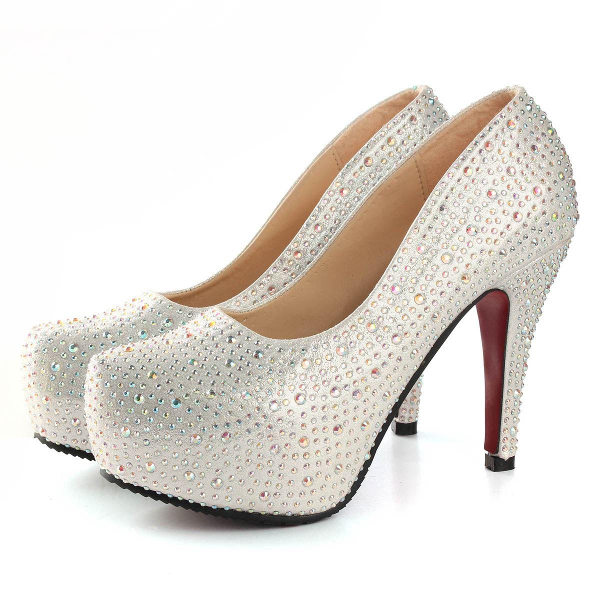Cheap Silver Heels With Rhinestones - Is Heel