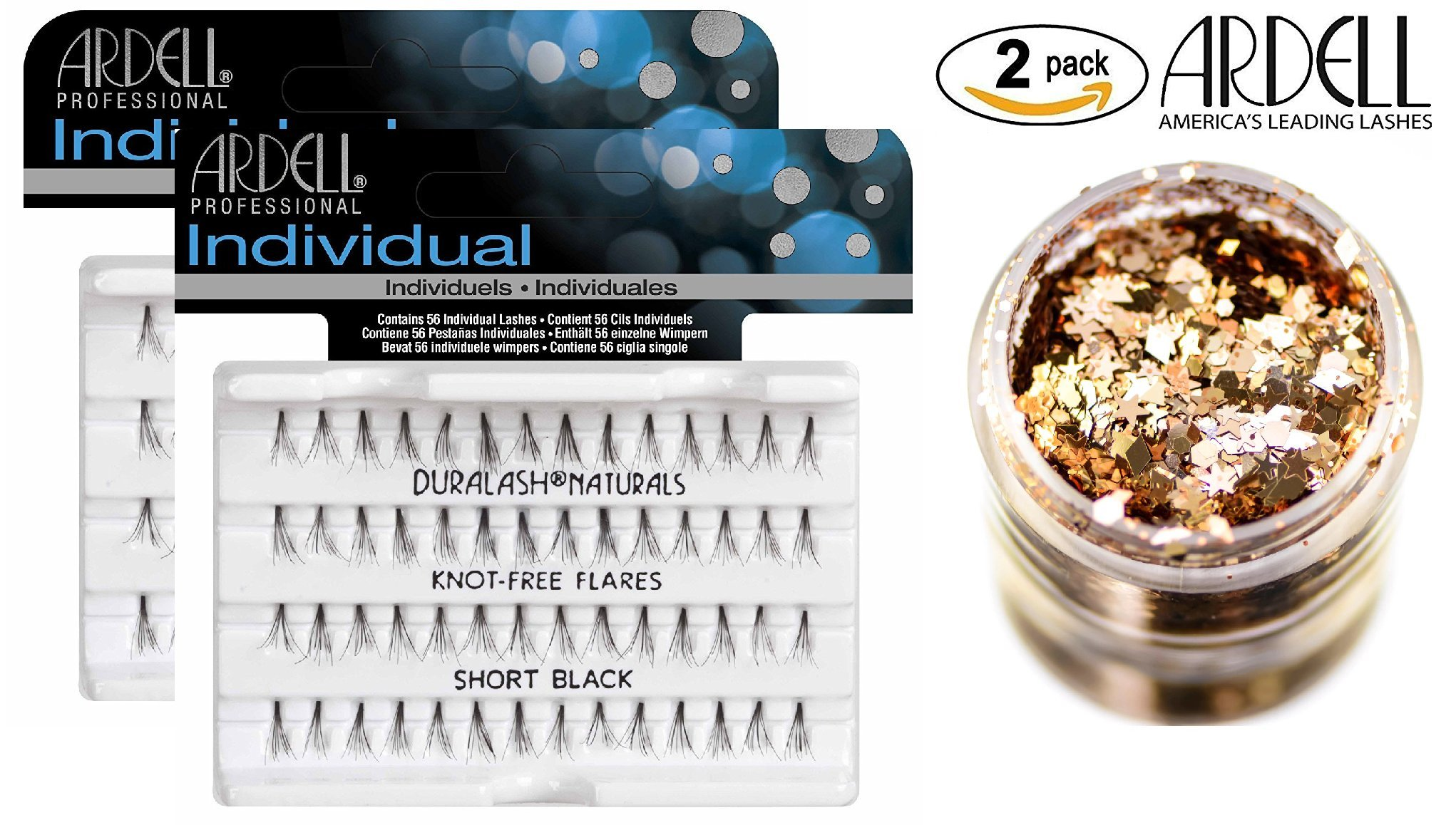 662d209e1ac Get Quotations · Ardell DURALASH INDIVIDUAL NATURALS, Knot-Free Flares,  SHORT BLACK, Contains 56 Individual