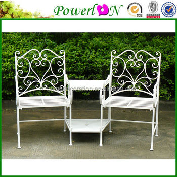 Wholesale Unique New Love Seat Design Vintage Wrought Iron Patio Garden  Bench I21 TS05 X11B PL08