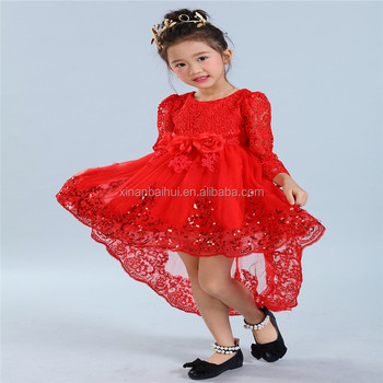 European style high-grade white wedding gown flower girl evening party dress Autumn long sleeved dress for kids