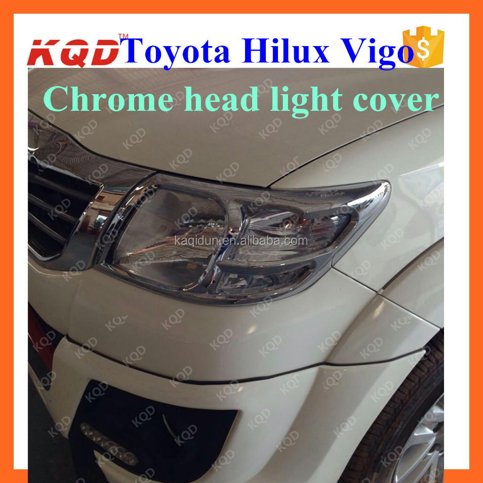 New product car decoration accessories golden plating headlight covers for TOYOTA HULUX VIGO thailand best selling auto parts