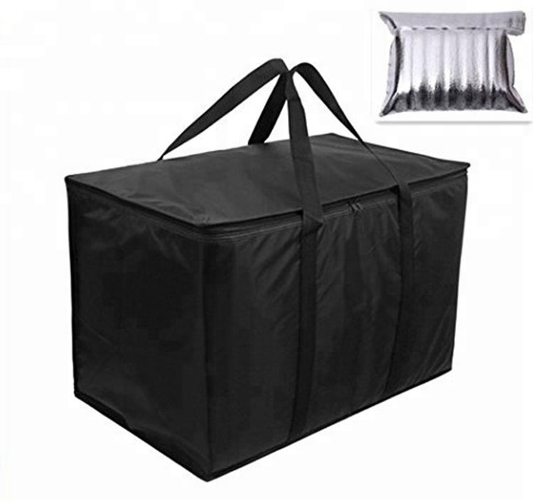 Extra large foldable thermal hot and cold food delivery insulated bag for frozen food