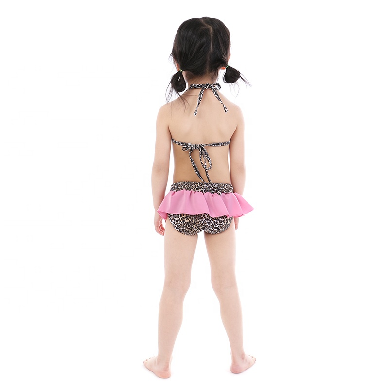 wholesales girls toddler baby swimsuit summer beach outfit pink leopard print girls bikini