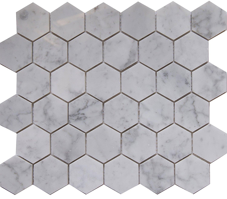 "Carrara White Marble Mosaic Tile, CWMM2HEX-H, Chip Size 2"" Hexagon, 12""X10""X3/8"", Honed (Sample (3""X6""))"