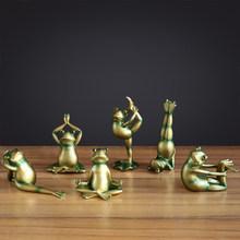 Набор из 6 штук фигурки лягушек для йоги миниатюрные смолы для домашнего рабочего стола кавайные украшения для дома аксессуары для современ...(Китай)