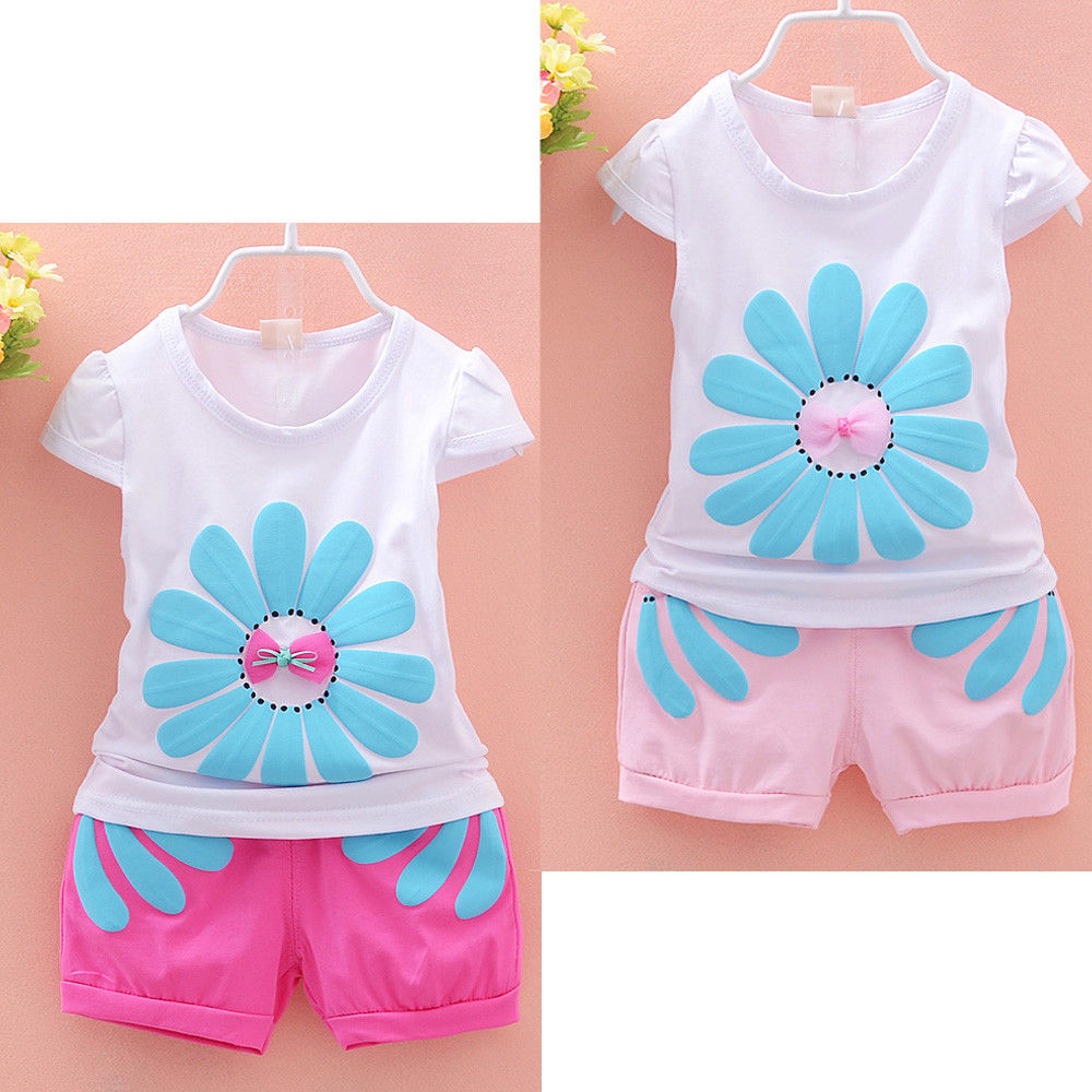 2pcs clothing set fashion kids baby girls beauty sunflower short sleeve tops floral shorts outfits for