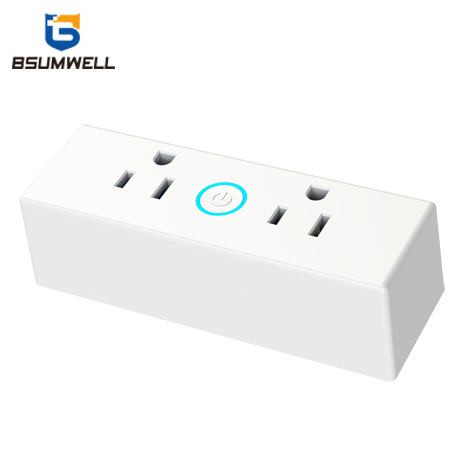 Manufacturer wholesale AC110V Alexa Echo and Google Home connection US 15A dual Smart WIFI straight pin power <strong>plug</strong>