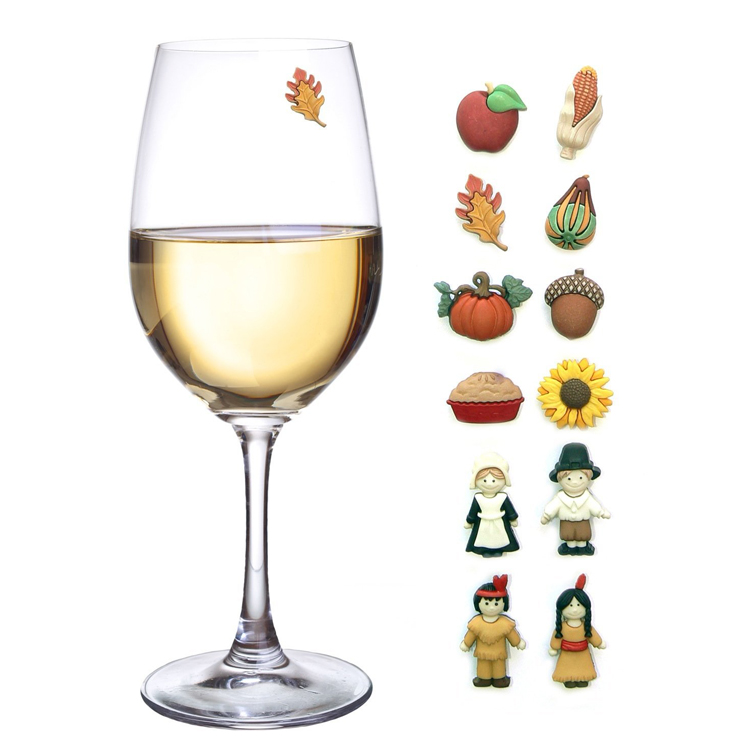 Thanksgiving Magnetic Wine Glass Charms Set of 12 Perfect Drink Markers for Stemless Glasses