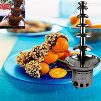 6 Tiers Height 82cm Dia 36cm Stainless steel commercial chocolate fountain stand machine, chocolate fondue fountain
