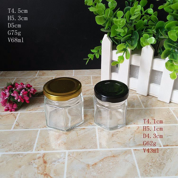 Wholesale Glass 1oz 2oz Hexagon Mason Jar With Metal Lid