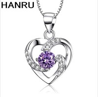 korean fashion silver necklace jewelry couple heart - shaped cz zircon pendant chain necklace