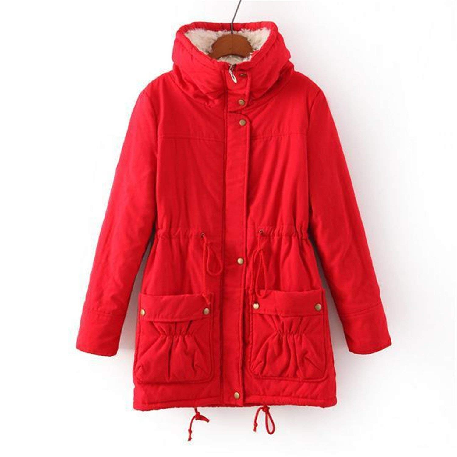 94cf3e982b72 Get Quotations · Cheryl Bull Trendy Women Slim Plus Size Outwear  Medium-Long Wadded Jacket Thick Hooded Cotton
