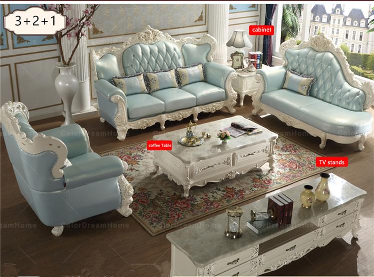Royal Clic Sofa Set Living Room Furniture In Light Blue Color