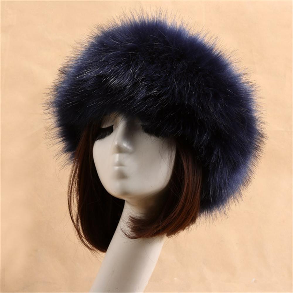 5e248239ab61f Yyun Luxury Brand Russian Cossack Style Faux Fur Headband for Women ...