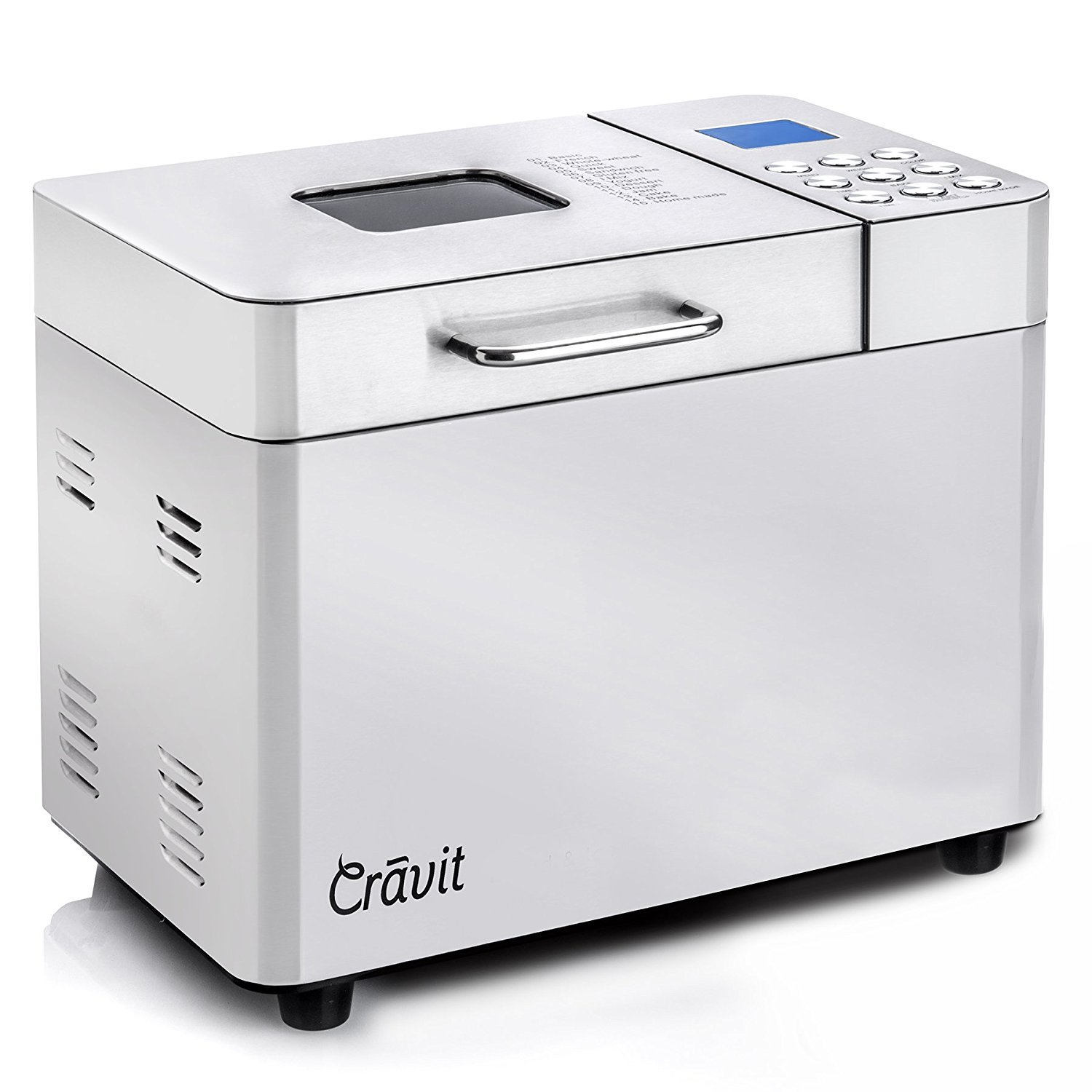 ALL NEW Crãvit DV-1000-NIC Gluten-Free, Whole Wheat (Low Carb) Bread Machine with 15 Other Preset Menu Options, including 1-hour Keep Warm Mode and 15-hour Delay Timer