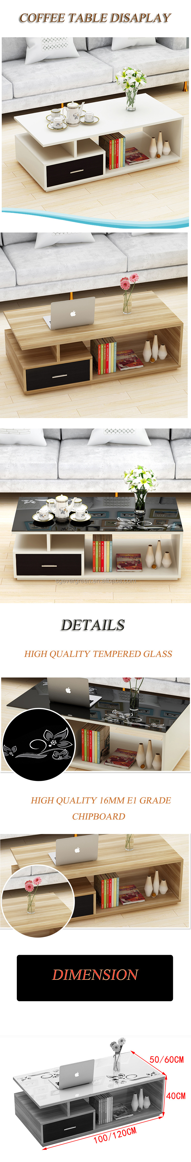 Tempered glass wooden home furniture coffee table modern