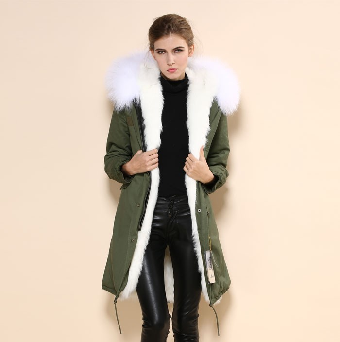 2016 Women Fur Coat White Fur Inside Hoodie Parka Winter Fur Long ...