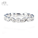 Vintage Delicate Mirco Setting Diamond Matching Eternity Band Rings in 14k 18k White Gold au 750