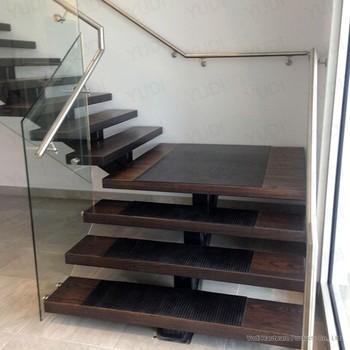Escalera de hierro de madera con vidrio interior de - Precio escaleras interiores ...