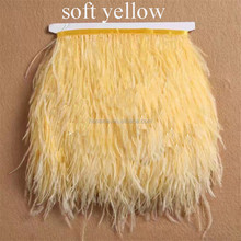 Artificial synthetic gold ostrich feather fabric trimming for decorative skirt