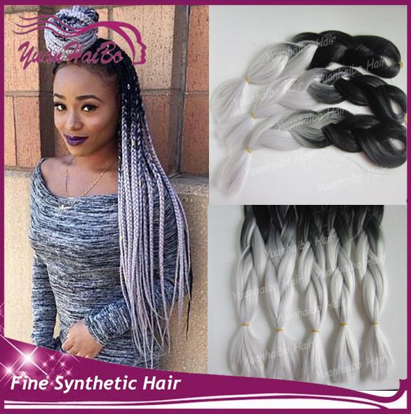 High Quality! 20in fold silver gray ombre synthetic jumbo braids two tone braiding hair for women