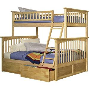 Columbia Twin over Full Bunk Bed | Flat Panel Drawers | Natural Maple