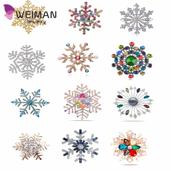 2016 multi-color rhinestone snowflake brooches for women wedding elegant pins and brooches lead free not allergic good gift
