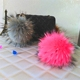 Pretty Lively Huge Raccoon Fur Pompom Leather Strap Keyring/Keychain Dyed Colorful Raccoon Fur Ball Bag Pendant