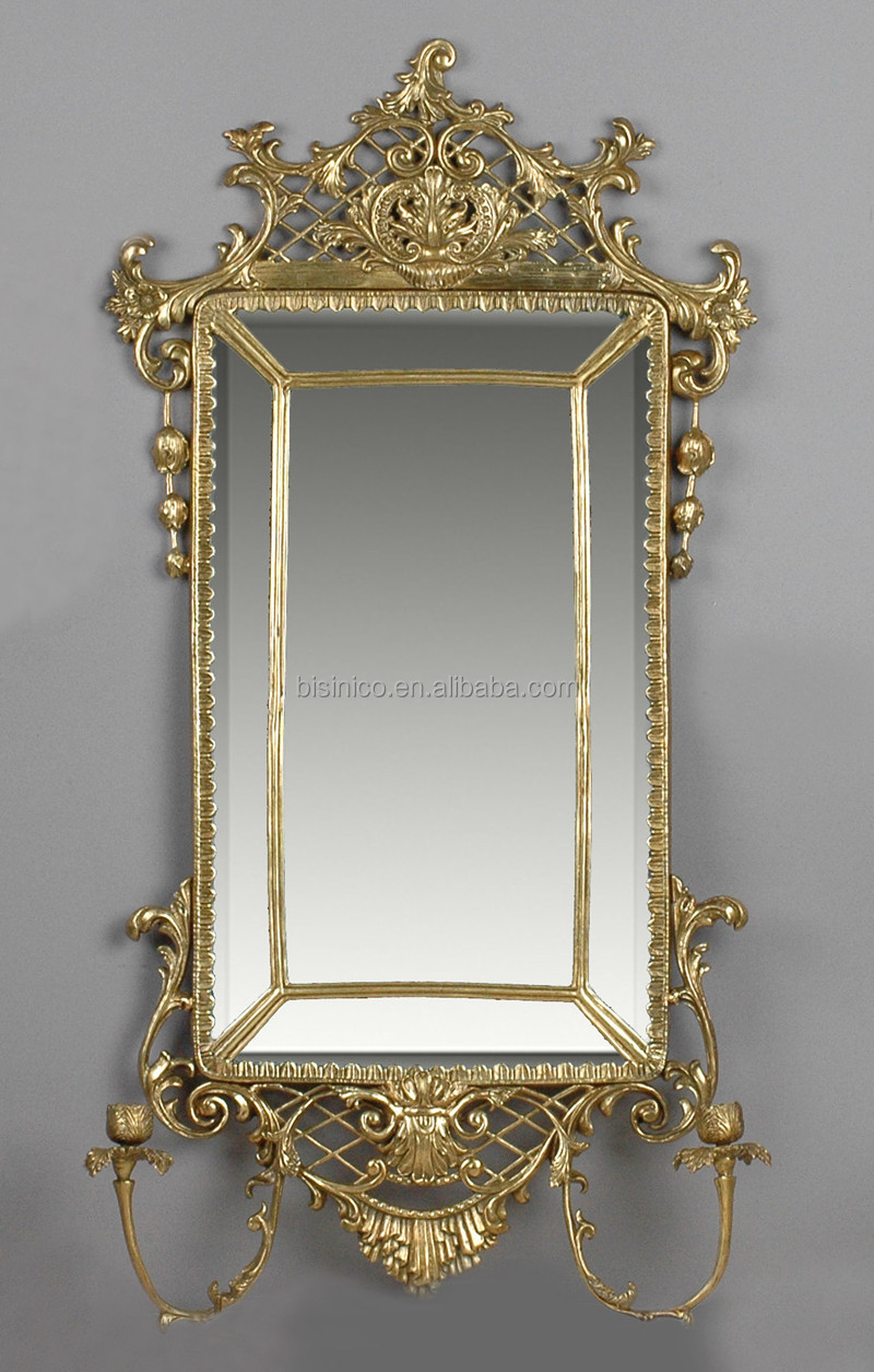Antique French Bronze Frame Wall Mirror Unique Design Decorative Console Hand