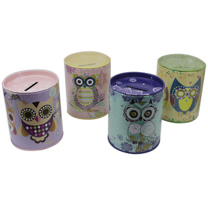 Owl design cylinder shape saving bank metal piggy bank tin cans wholesale coin box