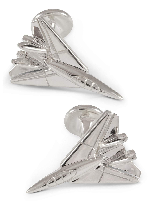 ZAUNICK Fighter Jet Cufflinks, Sterling Silver