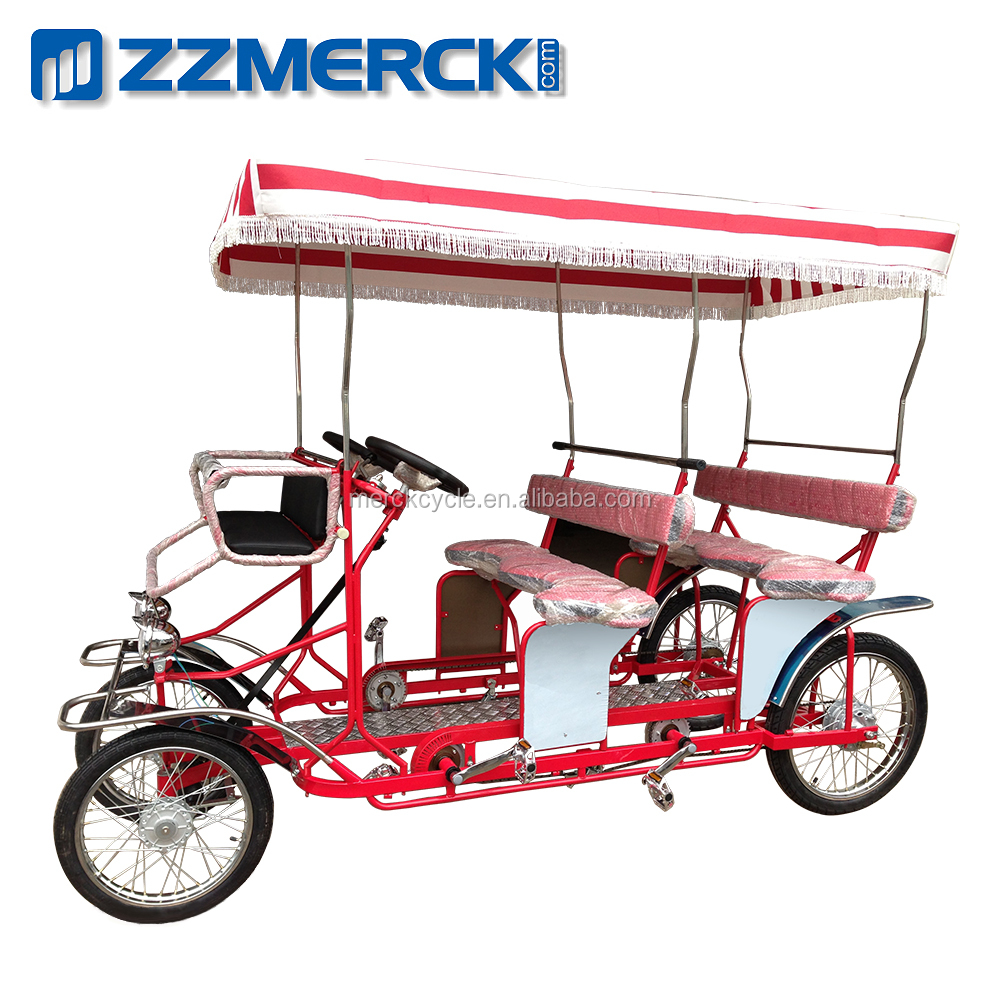 Wholesale China Manufacture 4 Wheel 4 Person Pedal Sightseeing Quadricycle Surrey Bike For Sale